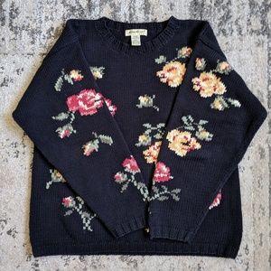 Eddie Bauer | Black Floral Sweater Roses Medium